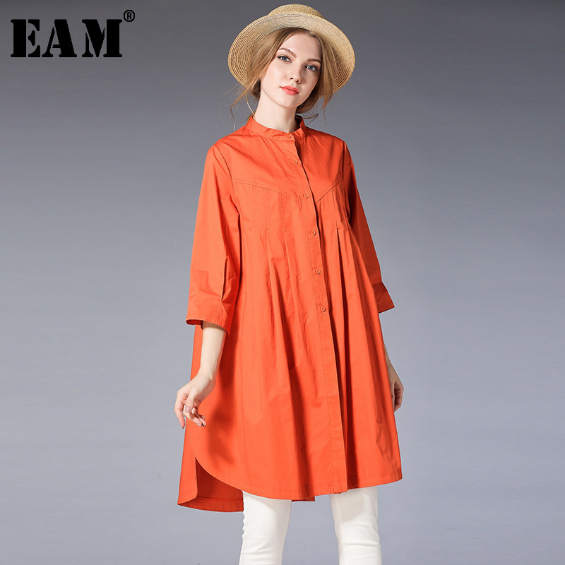 [EAM] 2020 New Spring  Stand Collar Long Sleeve Solid Color Black Loose Big Size Long Shirt Women Blouse Fashion Tide JE17101XL