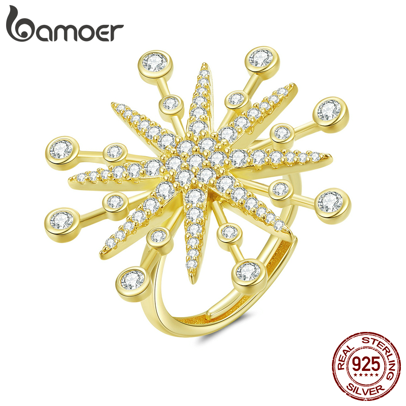 Bamoer Radiant Firework Finger Rings For Women Gold Color 925 Sterling Silver CZ Wedding Engagement Statement Jewelry BSR074