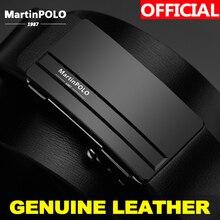 MartinPOLO Mens אוטומטי חגורת אבזם ינס ללבוש עור חגורות מותן רצועת חגורות זכר עור פרה לגברים MP01201P