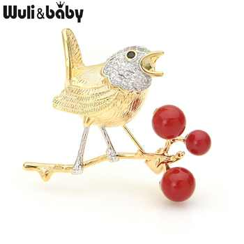 Wuli&baby Gold Bird Singing On The Red Bean Tree Brooches Women Luxury Czech Rhinestone Animal Wedding Brooch Pins Gifts - DISCOUNT ITEM  25% OFF All Category