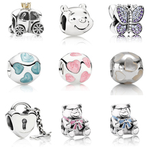 Wholesale 100% 925 Sterling silver Cute Bear Pumpkin Car charms Fit Pandora Bracelet Beads For Jewerly Making