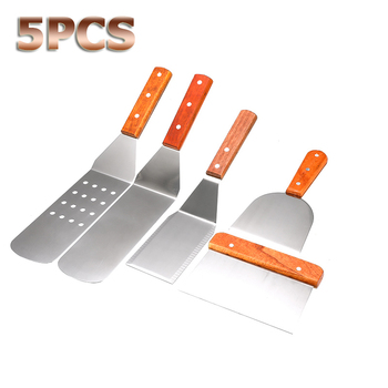 5Pcs/set Stainless Steel Spatula with Wood Handle Grill Griddle Salad Scraper Chopper BBQ Baking Cooking Utensils Kitchen Tools