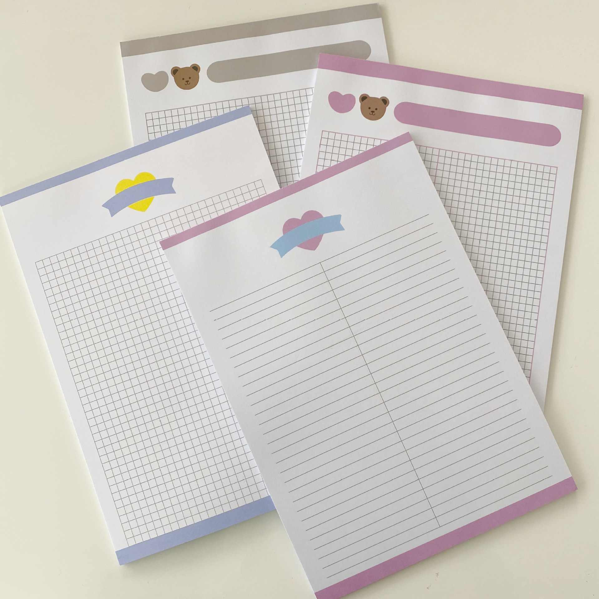Ins Cartoon Beer Liefde Memo Pad 30 Vellen B5 Grid Horizontale Lijn Student Leren Note Papier Dagboek Notebook Kawaii Briefpapier