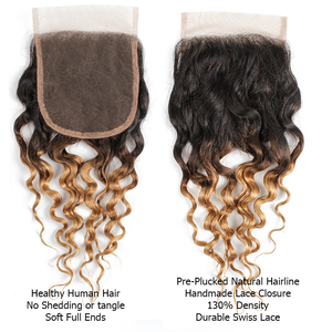 Image 2 - MOGUL HAIR Water Wave Hair Dark Brown Lace Closure 1B 27 Ombre Honey Blonde Color 8 20 inch Remy Human Hair Closure
