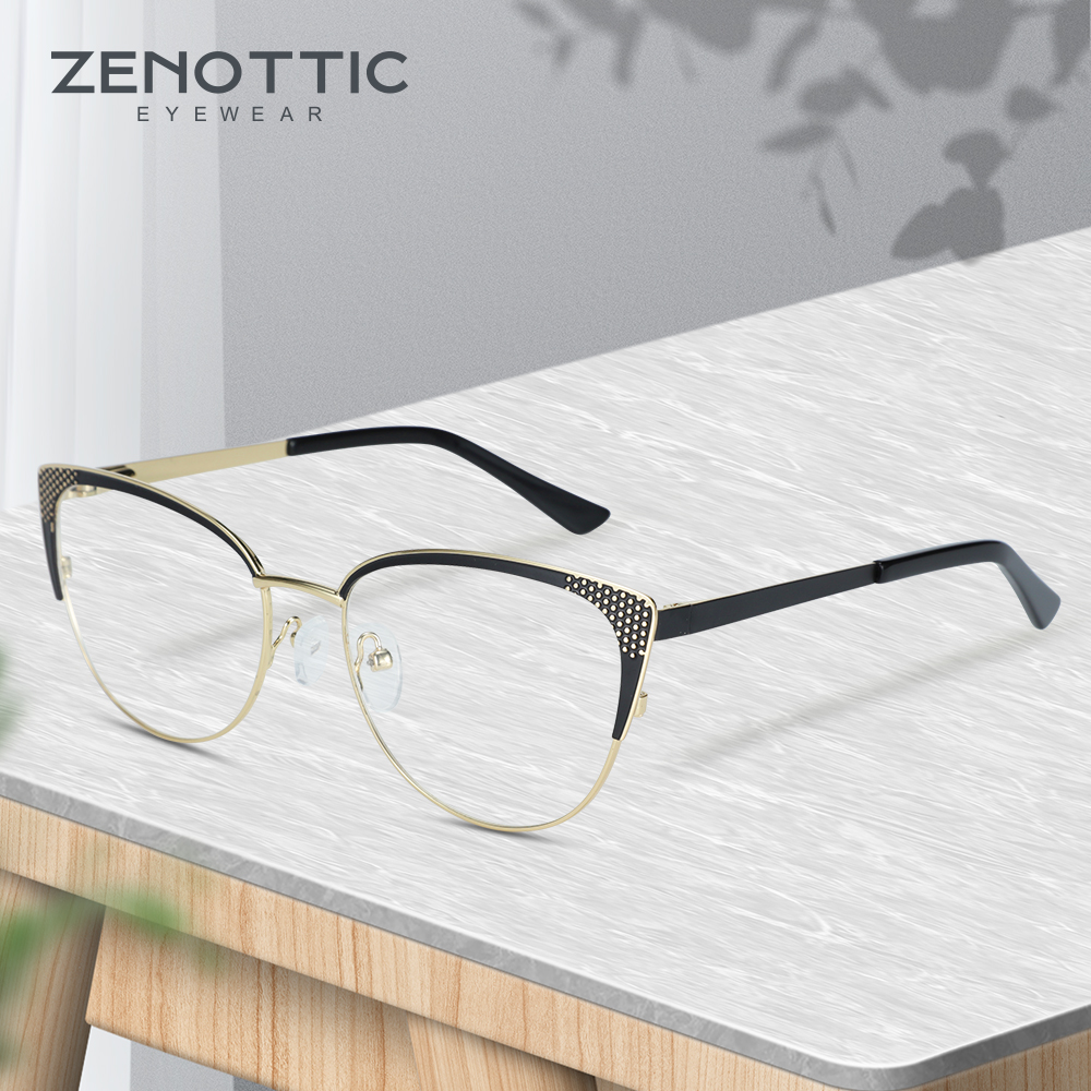 ZENOTTIC Eyeglasses Frame Women Metallic Round Glasses Transparent Glasses Vintage Glasses Vintage Women Eyewear 2019 1814