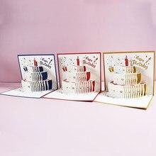 3D 팝업 카드 어린이를위한 생일 케이크 카드 아내 남편 생일 케이크 인사말 카드 엽서 선물 카드