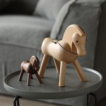 Scandinavian Style Pure Hand-made Zodiac Trojan Horse Decoration Danish Solid Wood Creative Home Black Walnut