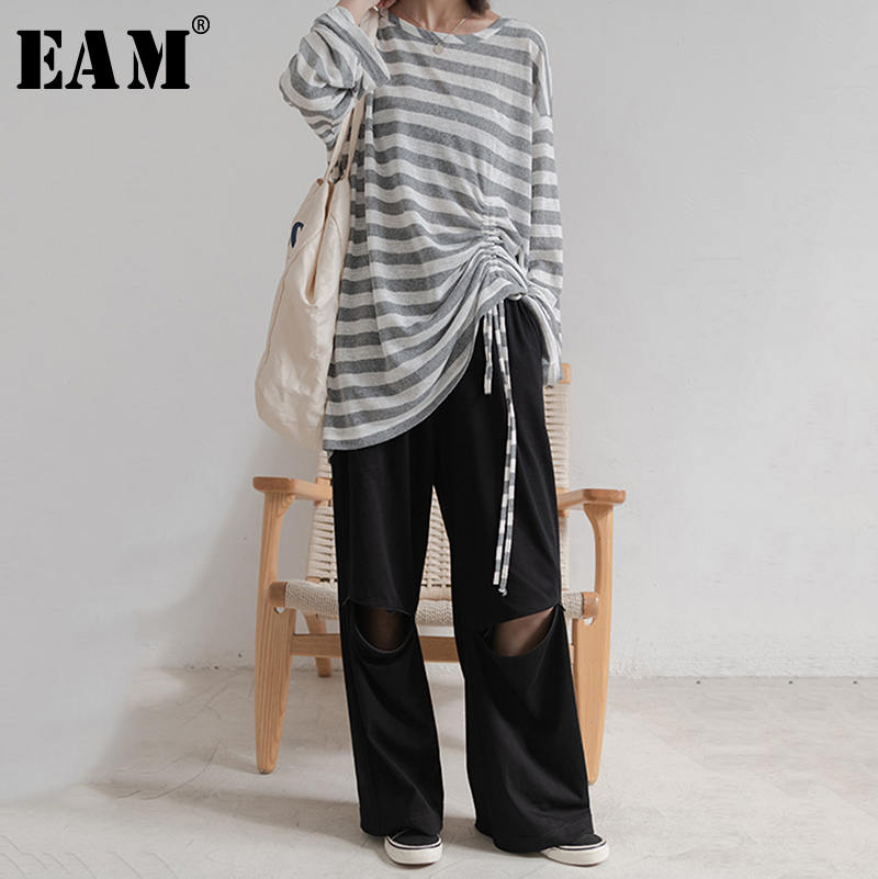 [EAM] High Elastic Waist Black Hollow Out Causal Trousers New Loose Fit Pants Women Fashion All-match Spring Autumn 2019 1A970