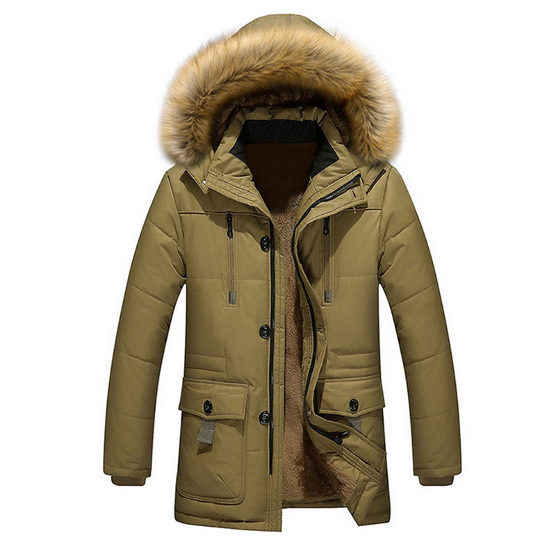 Men's Long Loose Parkas  Male Warm Cotton Hooded Men's Jacket Parkas StreetwearWinter Male Jackets And Coats Fashion