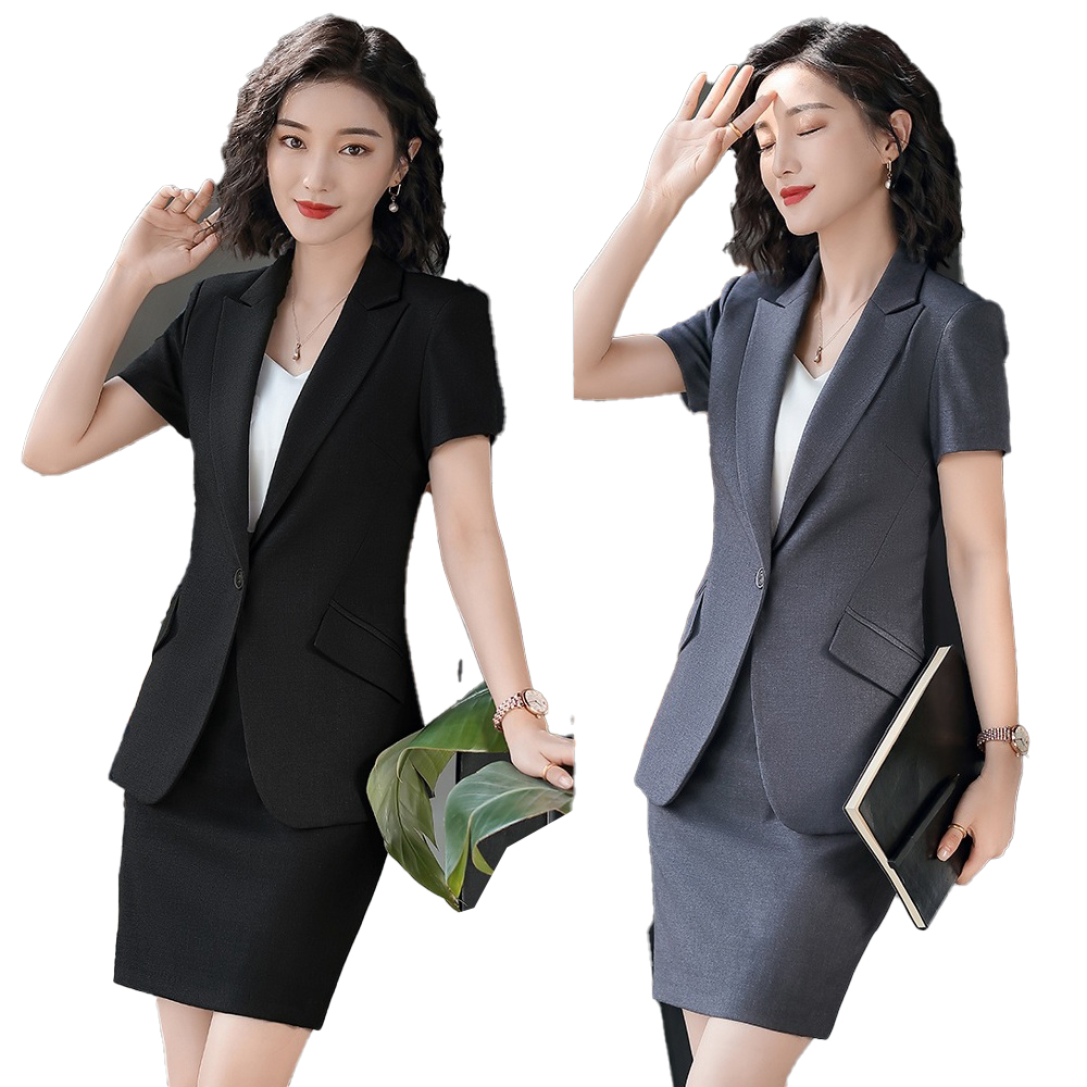 Female Elegant Formal Office Work Wear High Quality Fiber Summer Women Business Suits With Skirt And Jacket Sets Ladies Clothes