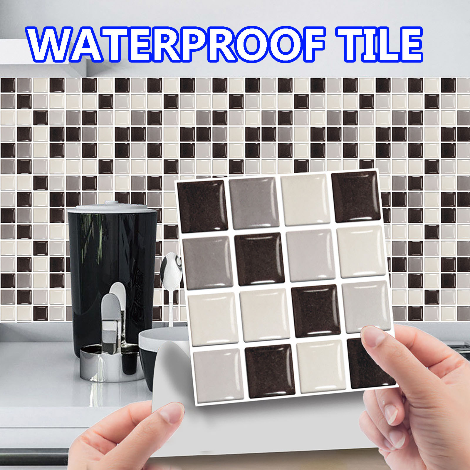 10pc 3D Crystal Tile Stickers mosaic glass stickersDIY Waterproof Self-Adhesive Wall Stickers Kitchen Bathroom Home Decor #40