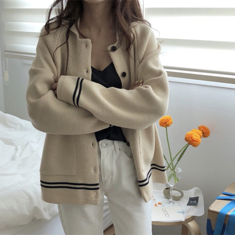 Knitted Cardigans Casual Sweater Turn Down Collar Patchwork Tops Striped Pockets Jumper Lady Sweaters Autumn Ropa Invierno Mujer