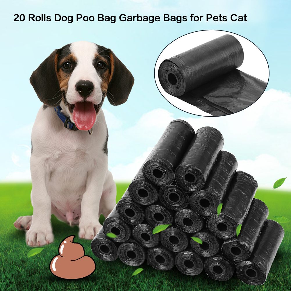 20 Rolls Travel Pet Waste Bag Plastic Dog Poop Bags Dogs Cats Waste Clean Up Garbage Bag Refill Bag Plastic Degradable Puppy