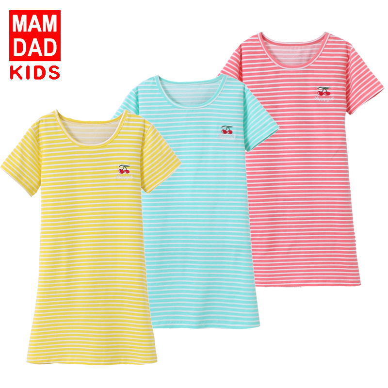 Children Short Sleeve Striped Nightgown BAMAQIN 18 Summer New Style Cherry Skirt Big Boy Pajamas
