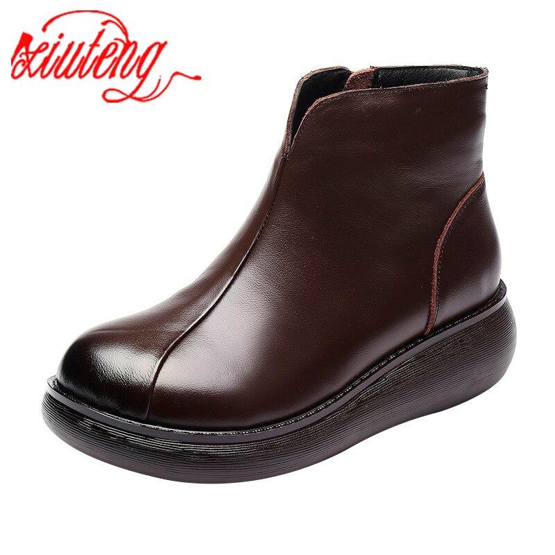 Xiuteng/зимние ботинки; Теплая обувь с мехом внутри; Женская обувь из натуральной кожи; Нескользящие ботильоны; Зимние женские ботинки на платформе|Полусапожки|   | АлиЭкспресс