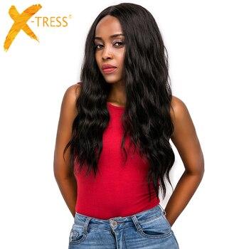 Perucas dianteiras do laço do cabelo sintético parte livre X-TRESS ombre marrom cor preta longa onda natural na moda peruca de cabelo do laço para preto
