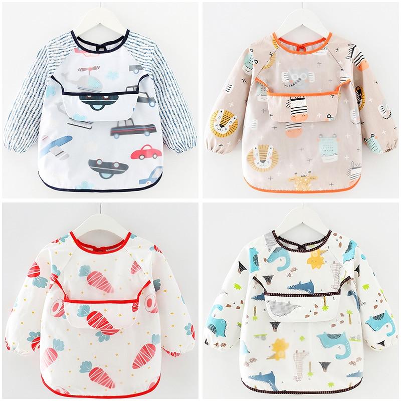Cute Cartoon Baby Bibs Waterproof Infant Eating Children Drawing Long Sleeve Apron Burp Cloth Baby Feeding Bib Accessories 0 2Y|Bibs & Burp Cloths| - AliExpress