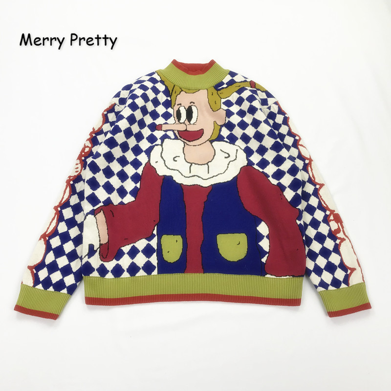 MERRY PRETTY 2019 Winter Thick Warm O-Neck Jacquard Sweater Women Cartoon Embroidery Funny Knitted Sweaters Femmf Knit Pullovers