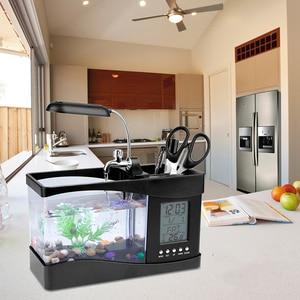 Image 5 - USB Desktop Mini Aquarium Fish Tank Beta Aquarium with LED Light LCD Display Screen and Clock Fish Tank Decoration with Pebbles