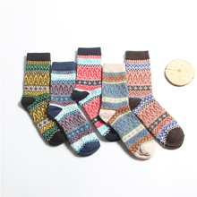 5pairs/lot Ethnic Fake Cashmere Mens Socks Vintage Long Crew Man Thick Happy Autumn Winter Calcetines Hombre