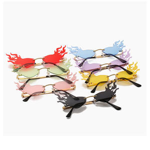 Sunglasses Women Fire-Flame Rimless Luxury Fashion Eyewear Mirror Travel Outdoor Wave