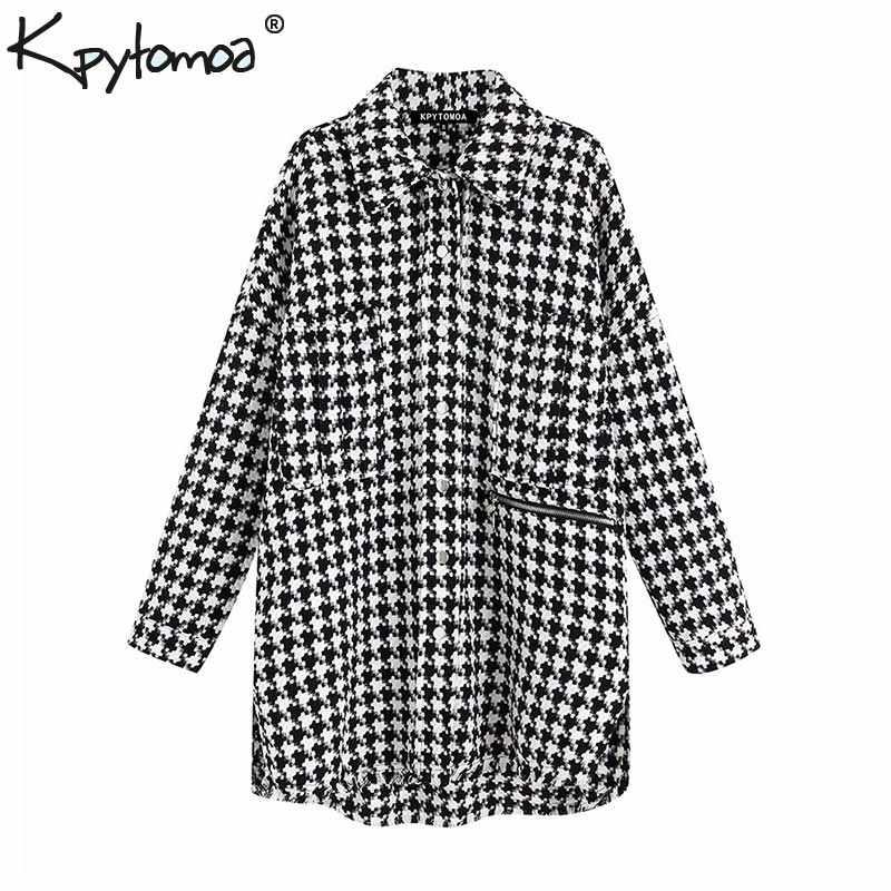 Vintage Stilvolle Übergroßen Hahnentritt Jacke Mantel Frauen 2019 Mode Taschen Ausgefranste Seite Vents Lose Plaid Oberbekleidung Chic Tops