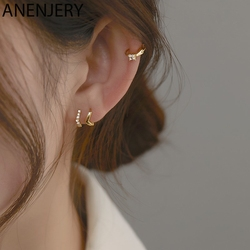 ANENJERY Dainty 925 Sterling Silver Small Hoop Earrings for Women Simple Zircons Geometric Earring Jewelry 2020 Trendy S-E1337