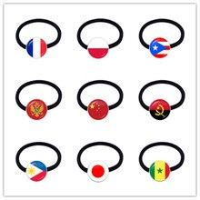 Cinta para la cabeza con bandera nacional, cintas elásticas para el cabello de Francia, Polonia, Puerto Rico, Albania, China, Suecia, Japón