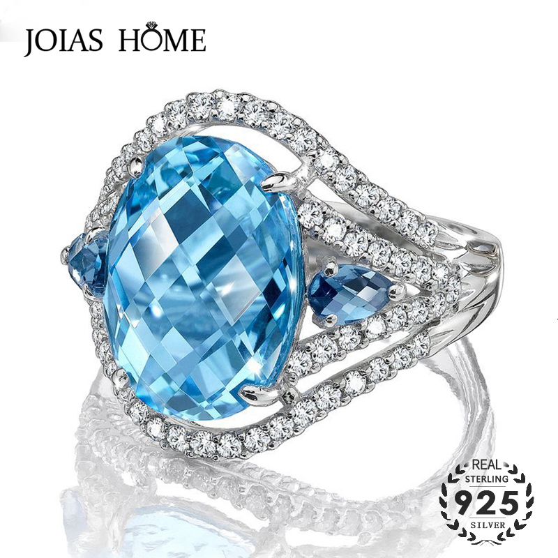 JoiasHome Oval Sapphire Ring For Women With 10*15MM Gemstones 925 Sterling Silver Fine Jewerly Wedding Party Gift Wholesale