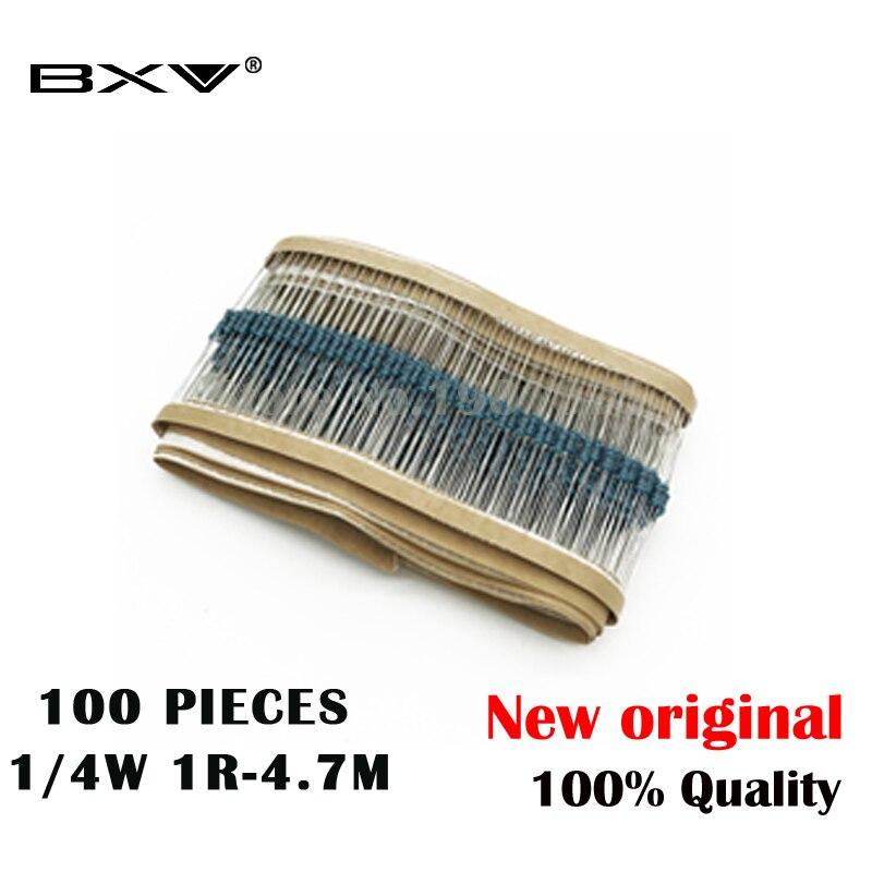 100PCS 1/4W 1R~22M 1% Metal Film Resistor 100R 220R 1K 1.5K 2.2K  4.7K 10K 22K 47K 100K 100 220 1K5 2K2  4K7 Ohm Resistance BXV