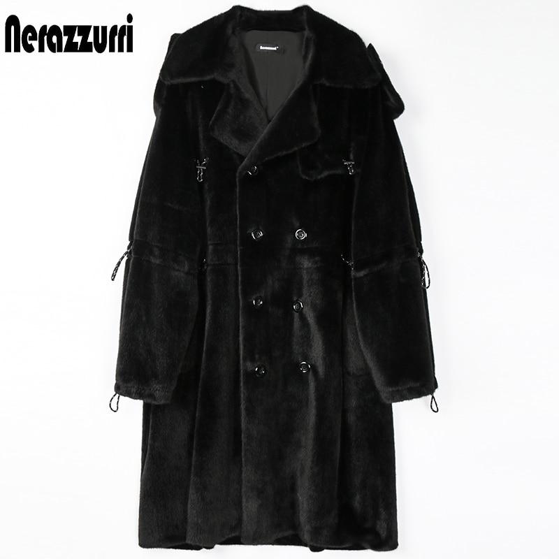 Nerazzurri Winter Long Oversized Soft Fluffy Warm Pink Black Faux Fur Trench Coat for Women 2021 Drawstring Long Sleeve Fashion