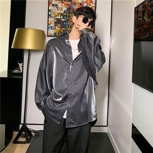Image 2 - Thời trang mùa thu lụa áo thun dài tay áo Sơ Mi Vintage quá khổ áo người hip hop Gothic Punk sáng bóng Đầm Áo sơ mi