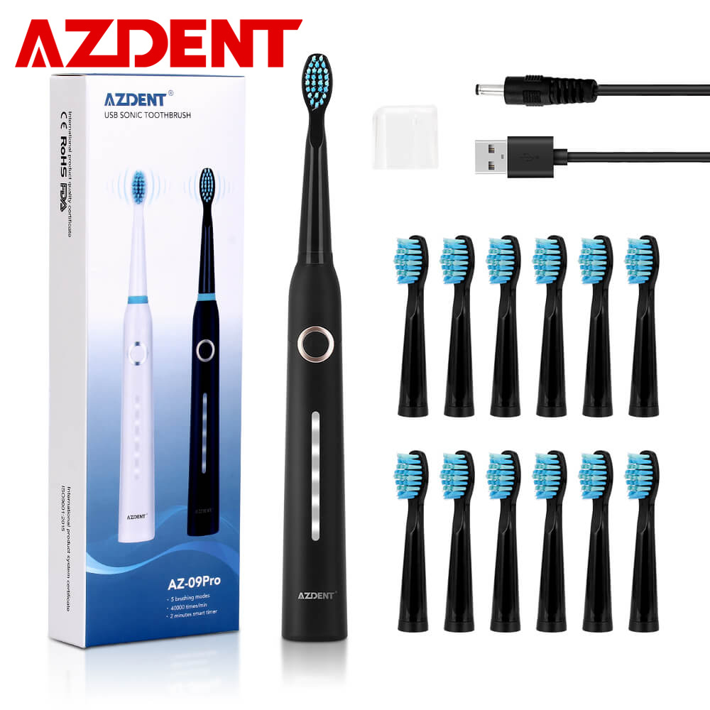 AZDENT Electric-Toothbrush Sonic Teeth-Whitening Rechargeable Waterproof USB Adults