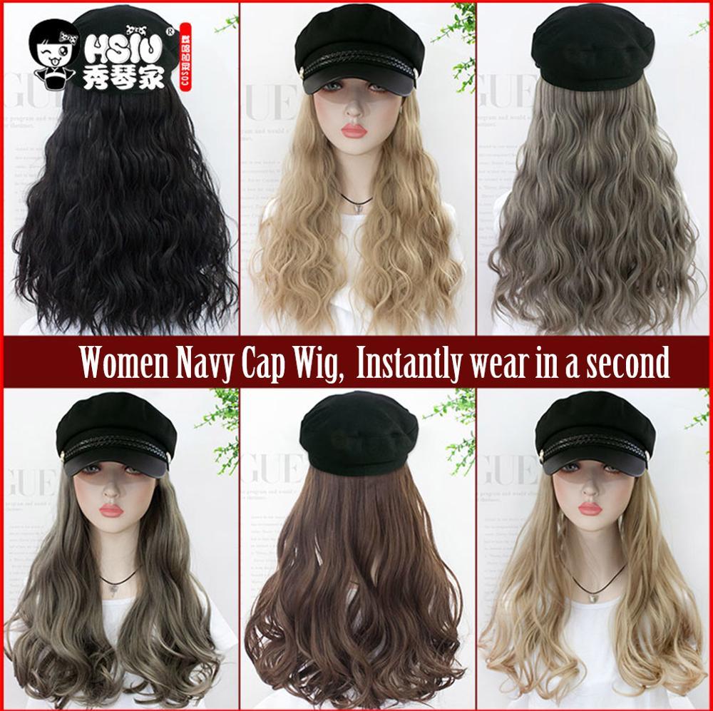 HSIU Retro Women military Cap Wig,Military Flat Cap Wig Long Wavy Synthetic Hair Fall Winter Retro octagonal hat fiber wig