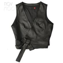 Women Vest BELTED Gilet Sheepskin Novmoop LT3204 Cuir It-Girl-Style Pour Femme Genuine
