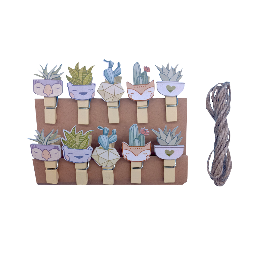 10pcs/lot Creative Cactus Design Natural And Lovely Wood Clip Room Decoration Photo Clip Ambience