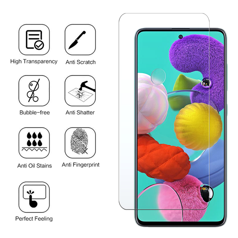 9H Protective <font><b>Glass</b></font> for <font><b>Samsung</b></font> A51 A50 A71 A70 A40 A30 S A20 M30S A30S A20e <font><b>A10</b></font> <font><b>Tempered</b></font> <font><b>Glass</b></font> Screen Protector on Galaxy A51 image
