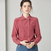 OL Silk Shirt Blouse Women Elegant Shirts Lapel Double Breasted Long Sleeve Casual Solid Silk Blusas Femininas Women Top