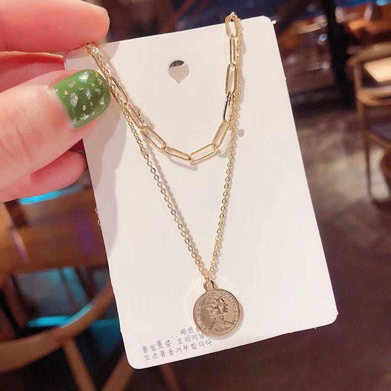 ヨーロッパとアメリカのエリザベスコインレイヤードネックレスネックレス韓国のファッション鎖骨ペンダントネックレスホリデーギフト