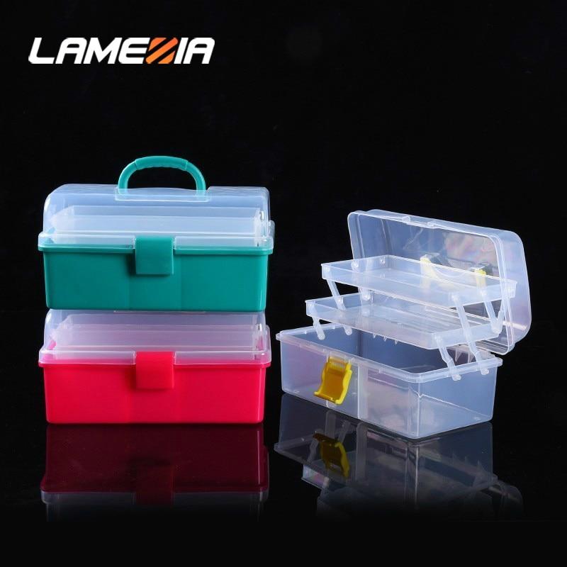 LAMEZIA Transparent Plastic Three-layer Folding Toolbox Hardware Accessories DIY Tools Box Organizer Parts Case Storage Toolkit