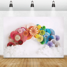 Laeacco Birthday Photophone White Wall Colorful Paper Umbrella Clouds Newborn Party Photography Backdrops Backgrounds Photocall