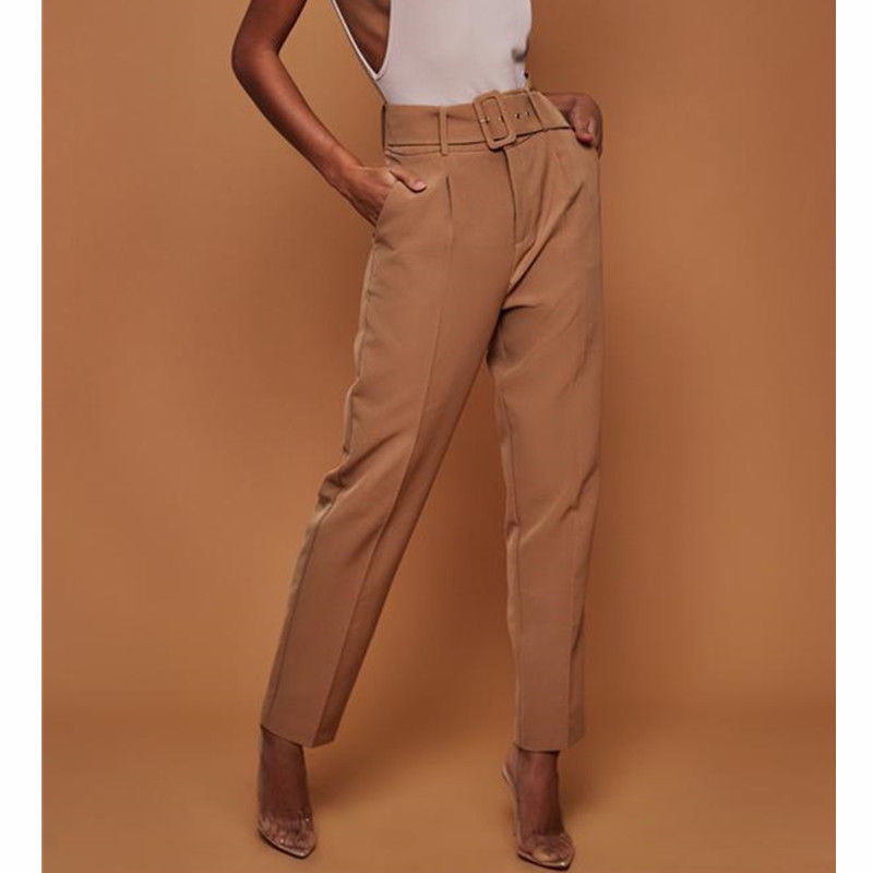 Hot Sale Fashion Women OL Career Trousers with Belt Elastic Drawstring Femme High Waist Office Lady Casual Pencil Pant Elegant