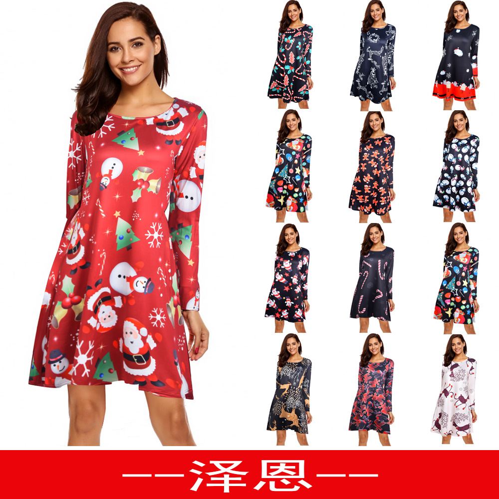 Cross-border women's wear hit <font><b>Ebay</b></font> popular Christmas print dress dress long sleeve dress image