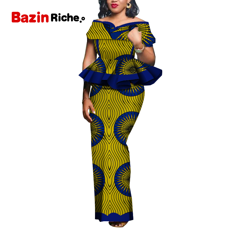 2020 Women Party Dress Skirt Sets Traditional African 2 Pieces Women Set Clothing Custom Made Dashiki Tops + Skirts WY5104