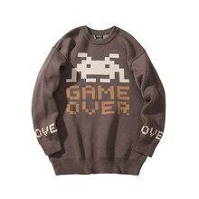 Зимний Новый Винтажный плотный шерстяной свитер, мужской вязаный пуловер с принтом, мужские теплые удобные свитера с круглым вырезом и длинными рукавами YT50155