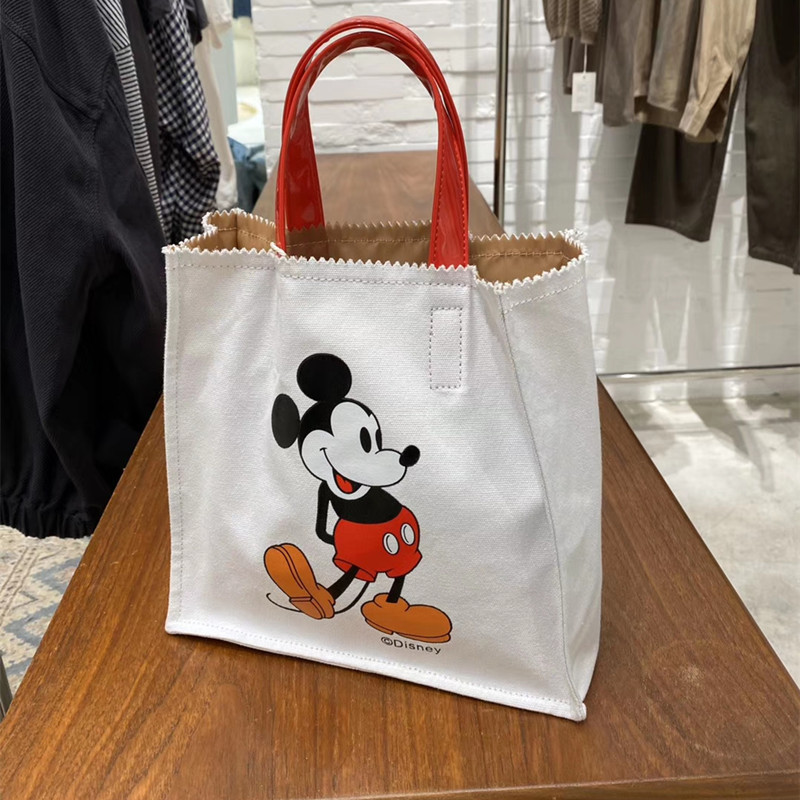 Disney Children's Cute Mickey Mouse Handbag Cartoon Hit Color Canvas Women Bag Lady Shoulder Bags