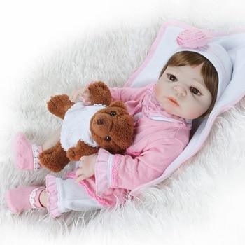 NPK 23inches 57CM Full Body SIlicone Reborn Babies Doll Bath Toy Lifelike Newborn Princess Baby Doll Bonecas Bebes Reborn Menina