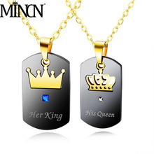 MINCN Mens Letter Necklace Titanium Steel Jewelry Crown Couple Square Stainless Metal Motorcycle
