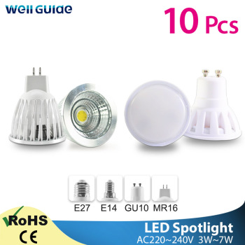 10pcs LED Spot Lamp Bulb GU10 MR16 E27 E14 LED Spotlight AC 220V 3W 5W 6W 7W Lampada aluminum COB SMD led bulb Energy Saving e27 3w 6500k 210 220lm 10 x smd 2538 led white light energy saving lamp bulb white ac 220v