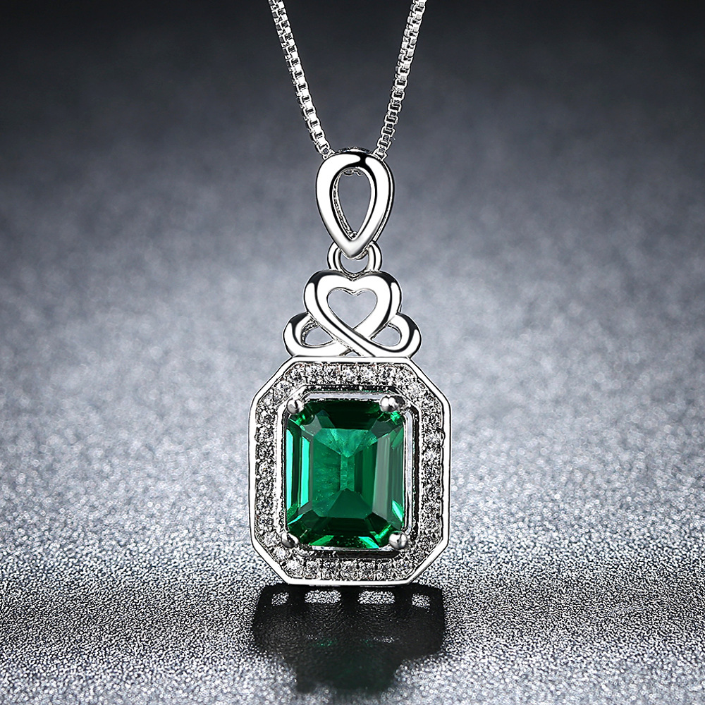 Beiver New Style Heart Lock Square Necklace Korean-style Cool Micro Pave Green Party Zirconium Necklace